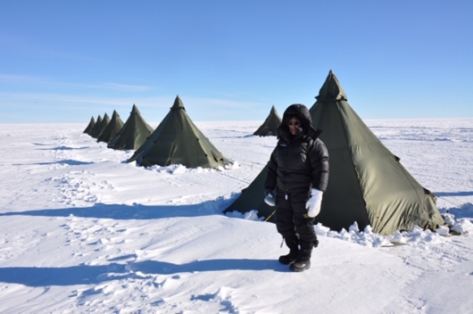 Me in front of a tent. They were not yet assigned.