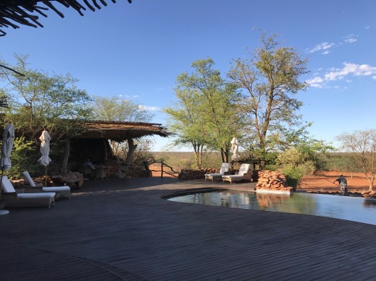 The lodge pool and dining areas