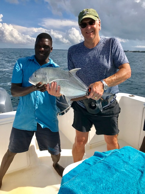 Mark's Giant Trevally. He had to release the protected fish.