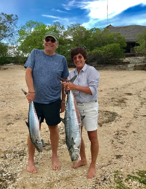 Our catch from our fishing trip--my 9 kilo mackerel and Mark's 4 kilo one. Made great ceviche.