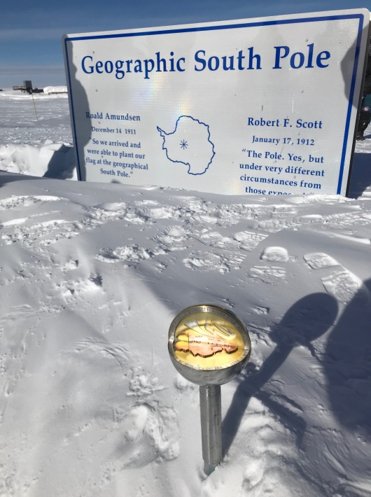 The 2018 Magnetic Pole marker. Due to be replaced on January 1. They are different every year.