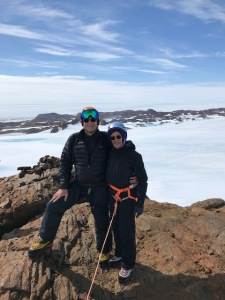 Mark and me at toe top of the Nunatak, a snow free, rock outcrop.