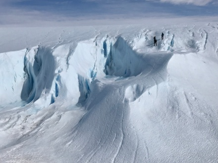 Climbing the glacier while avoiding crevasses. They are not far away, but distances are very deceiving.