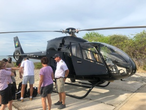 Our helicopter arrival at Azura,