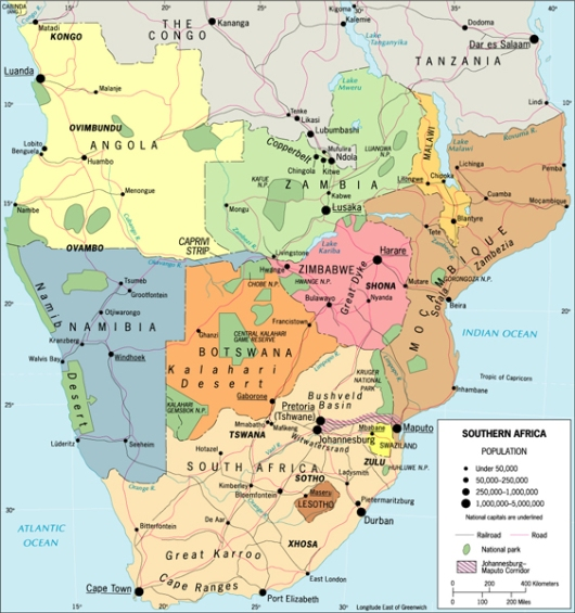 Map of Southern Africa. Our destination is Pemba, Mozambique