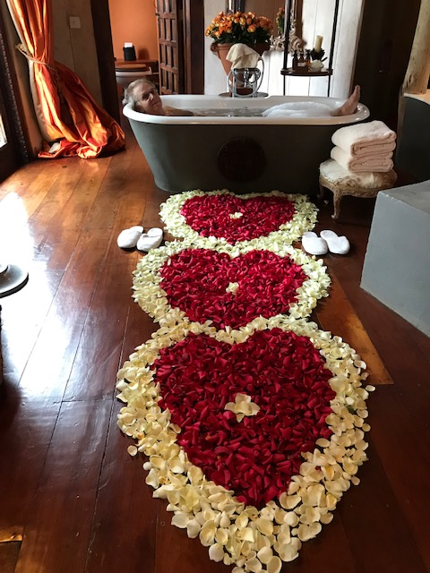 The rose petal hearts leading to our hot bubble bath
