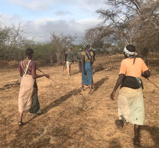 The Hadzabe people head out on out on our walk about